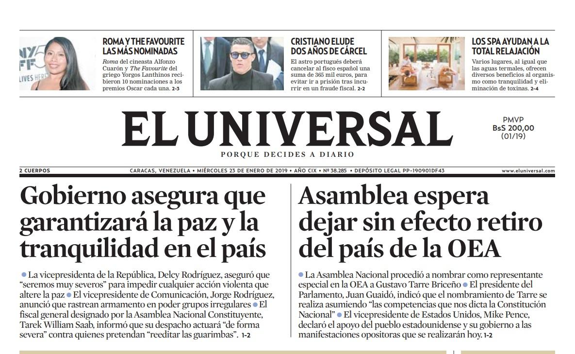 La edición de El Universal de este 23 de enero está disponible aquí