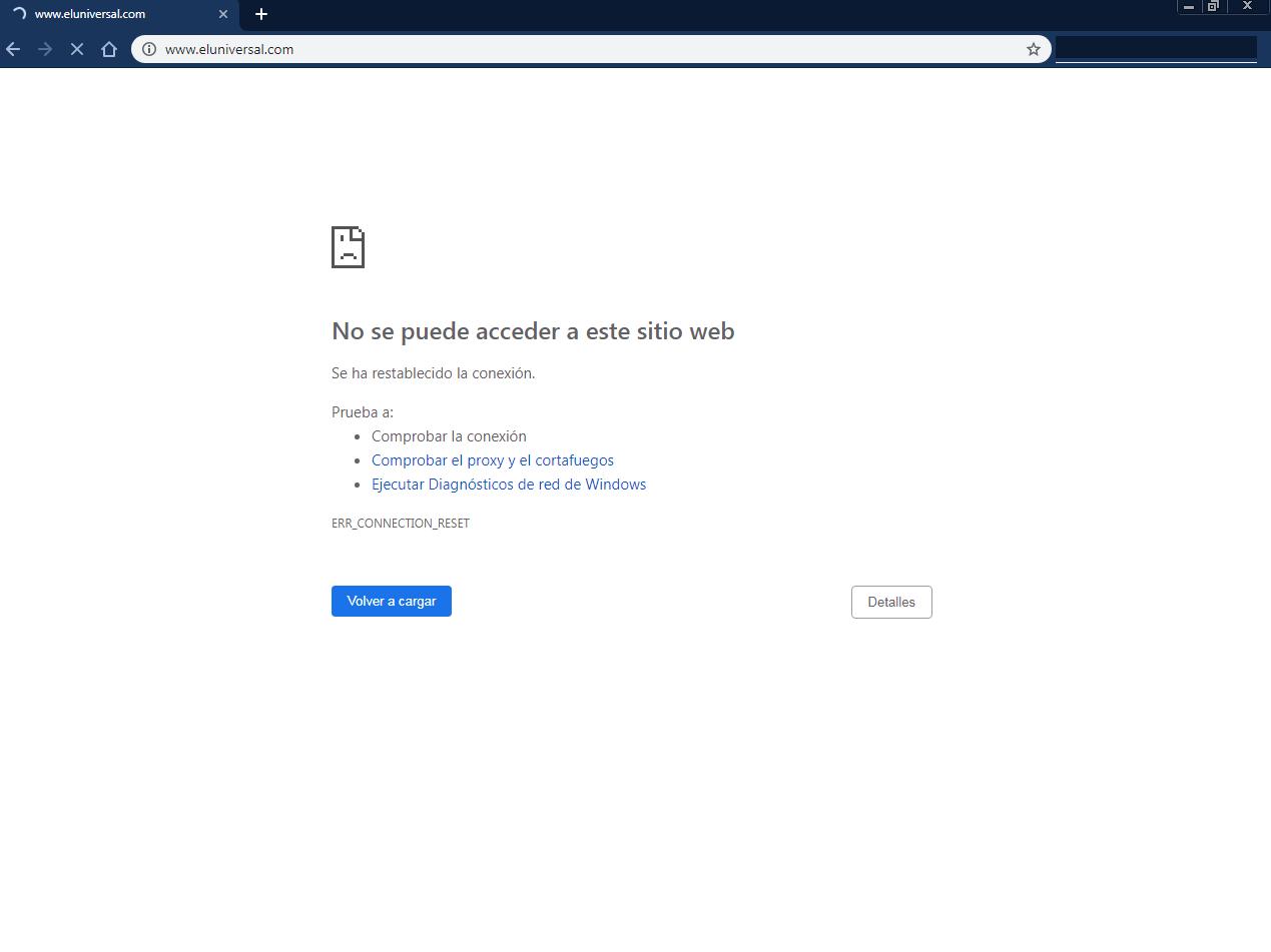Reportan bloqueo de ABA a página web de El Universal