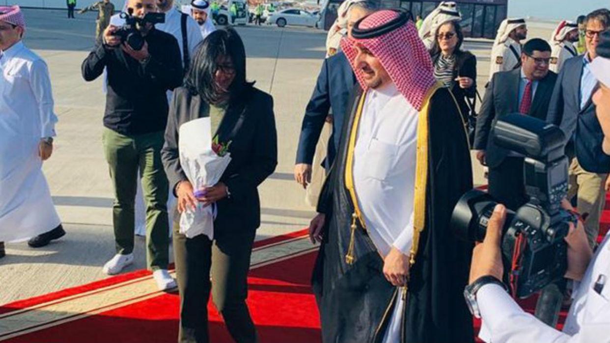 Delcy Rodríguez arribó a Qatar para fortalecer relaciones bilaterales