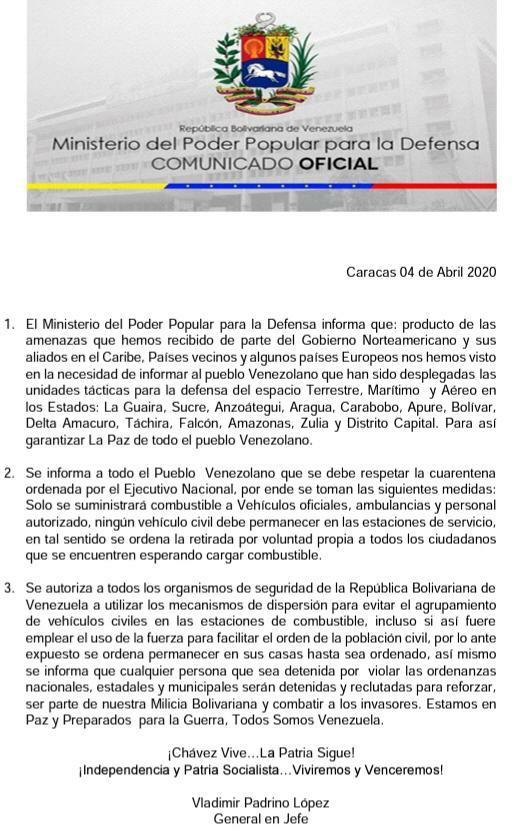ministerio de la defensa desmiente falso comunicado 47550