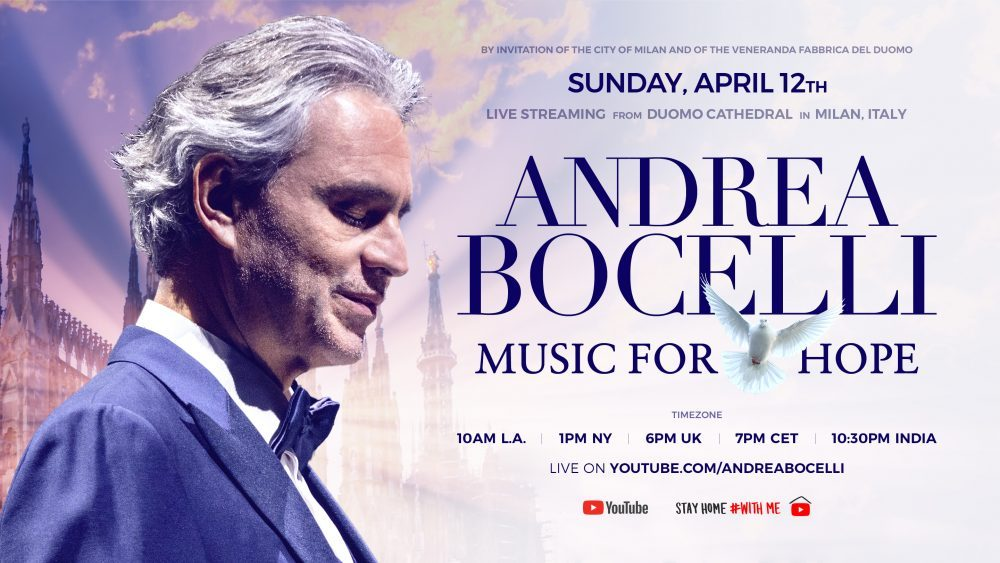 Andrea Bocelli ofrecerá un concierto en vivo por Youtube el Domingo de Pascua
