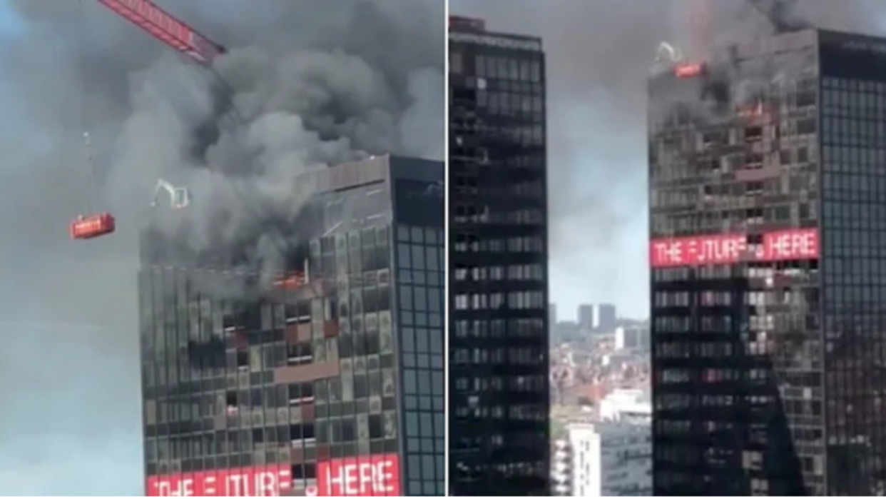 Se incendia el último piso del World Trade Center de Bruselas