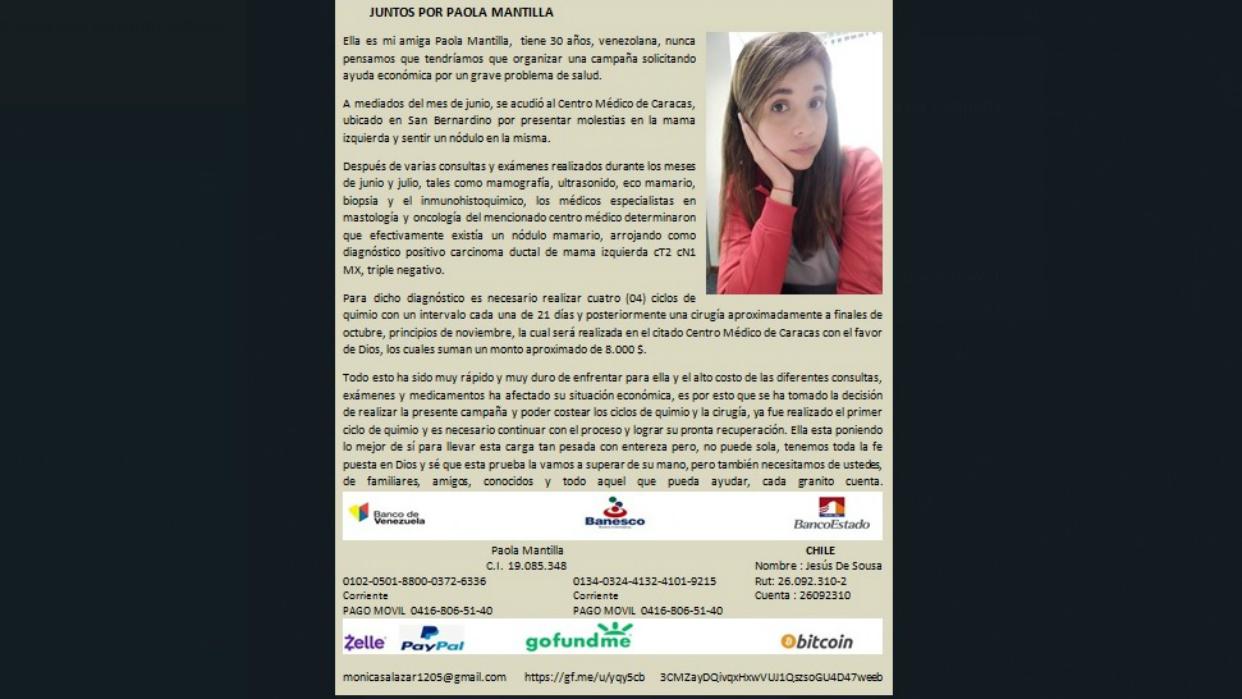 Paola Mantilla, una venezolana que necesita de nuestra ayuda