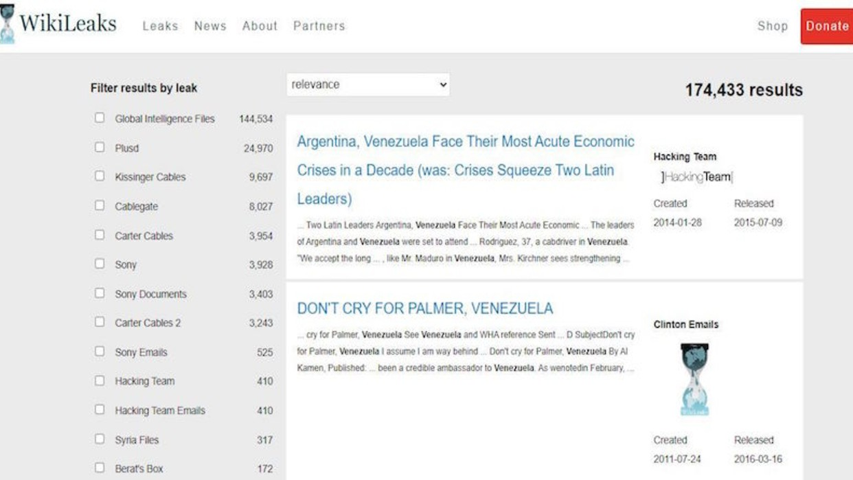 WikiLeaks reveló 174.433 documentos relacionados con Venezuela